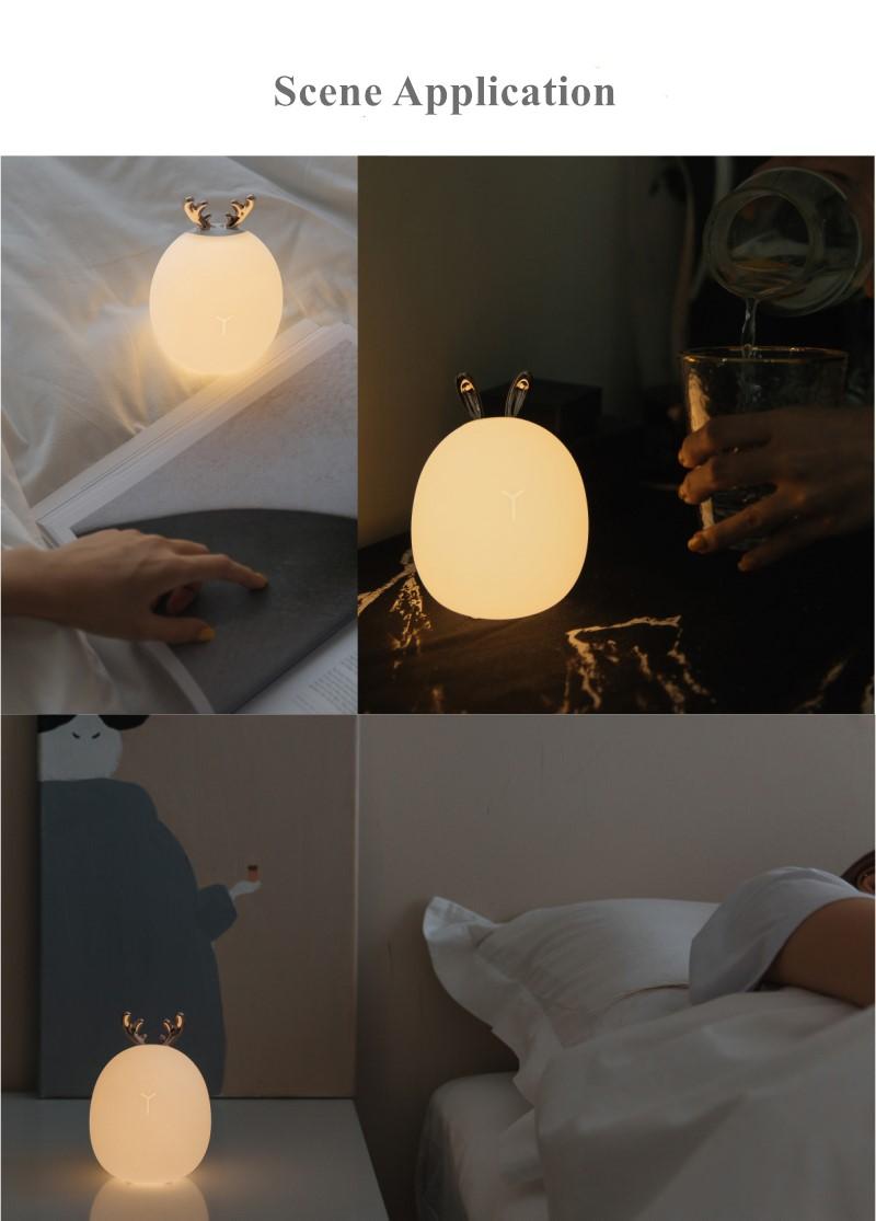 Cartoon Rabbit Deer Night Light LED Lamp Bedroom Bedside Lamp USB Q5S6