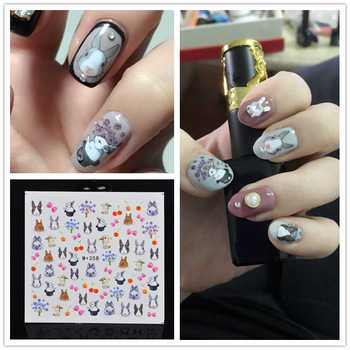 YZWLE 1 Sheet DIY Nail Sticker Water Transfer Cute Rabbit Design Tips Nail Beauty Manicure Decal For Nails Art
