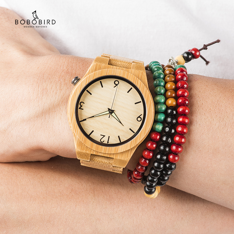 Wooden Watches Movement-Clock Logo Bamboo Bobo Bird Japan Relogio B-D27 Masculino Custmized title=
