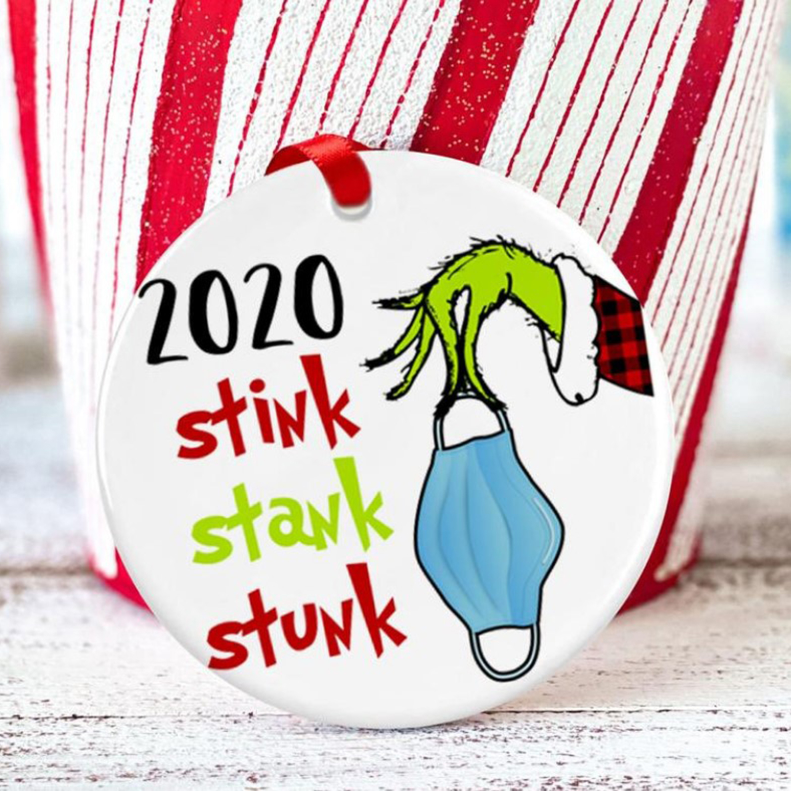 2020 Stink Stank Stunk Mask Ornament, Grinch Hand Christmas Ornament, Christmas Hanging Decoration