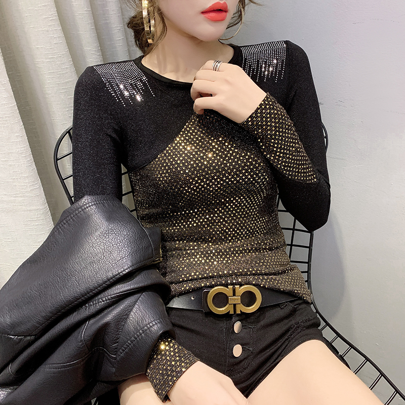 2020 Spring Autumn Clothes Sexy Shiny Patchwork Diamonds T-shirt Women Tops Ropa Mujer Bright Gold Bottoming Shirt Tees T9D003