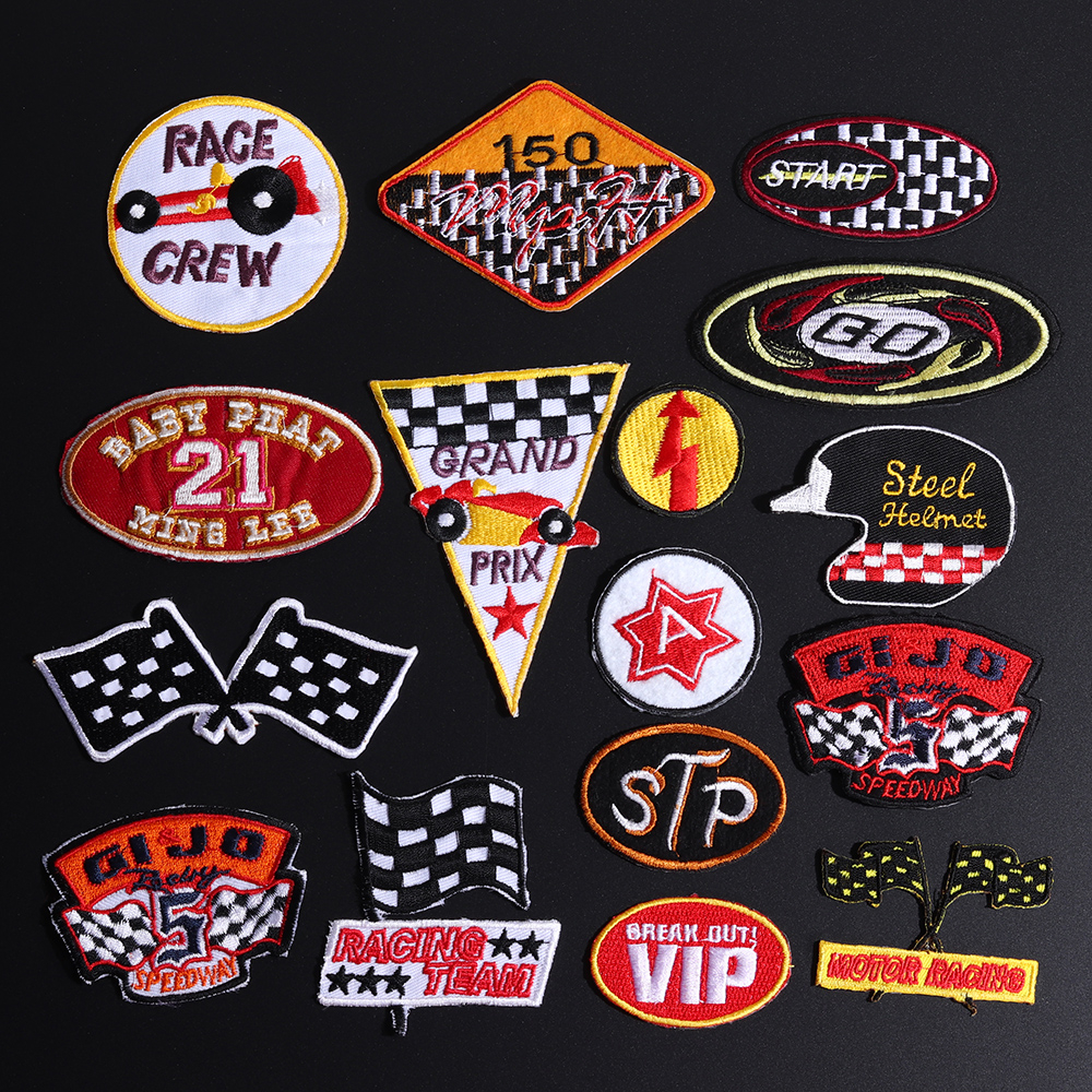 Flag patch patches embroidered Black white backpack checkered biker racing