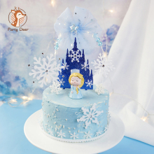 Festival Decorations-Use Happy-Birthdaycastle-Snowflakes Christmas Princess-Series Caketopper