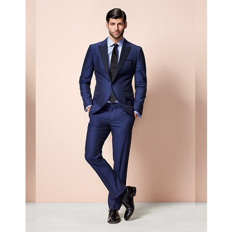 Navy Groom suit Formal suit Wedding suit for men Groomsman Tuxedos Peaked Lapel With black Lapel Men Suits 2 Pieces