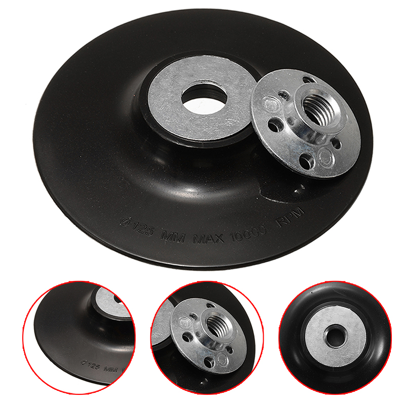 125mm 5 inch Grinding Backing Pad Hook /& Loop Angle Grinder Attachment+10 pads