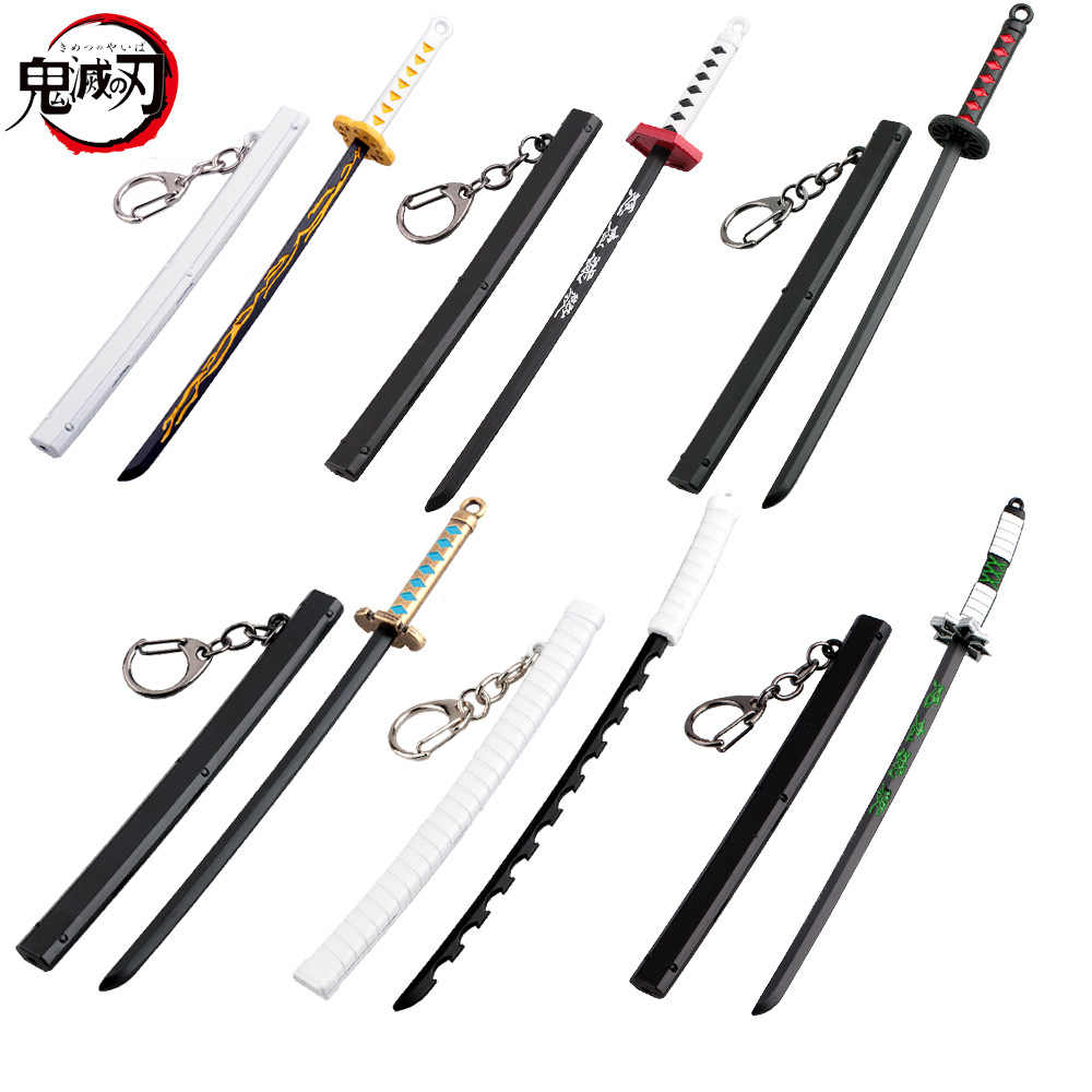15Styles Anime Demon Slayer Kimetsu no Yaiba Cartoon Kamado Tanjirou Sword Keychain Blade of Ghost Keyring Weapons Model Jewelry