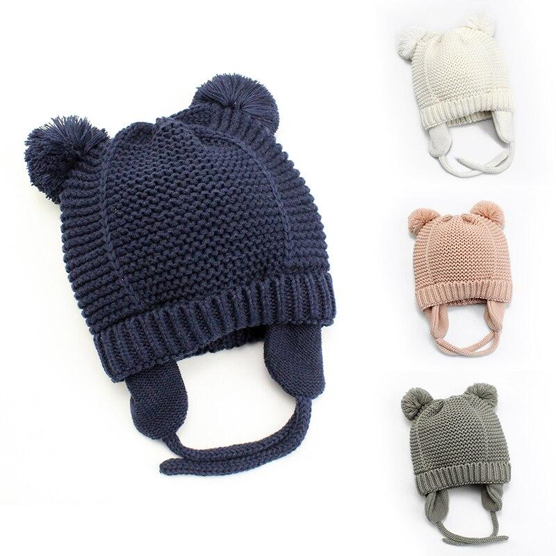 Милая вязаная детская шапка с помпоном, плотная теплая шапка для маленьких мальчиков и девочек, зимняя теплая шапка с ушками для новорожденных