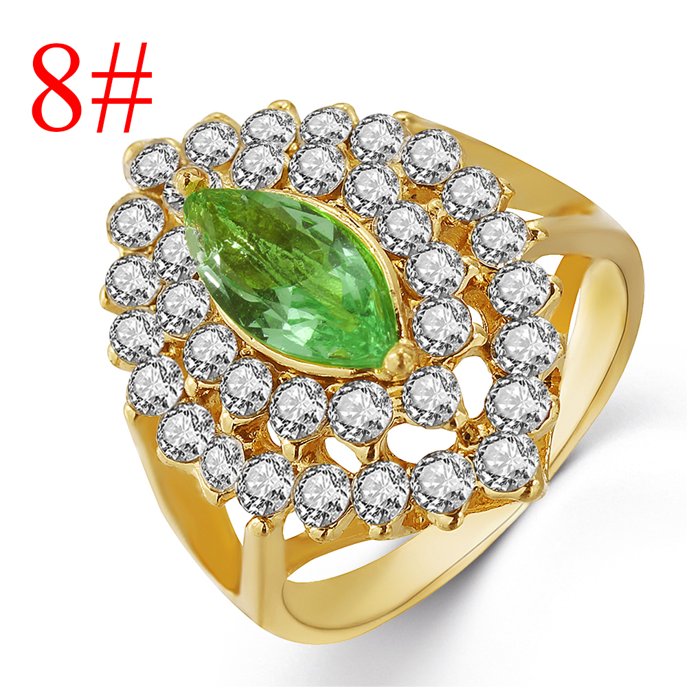 A 2pcs Sparkling Natural Gemstone Ring Set Silver-Plated Copper Micro Inlay Emerald Ring Women Wedding Ring
