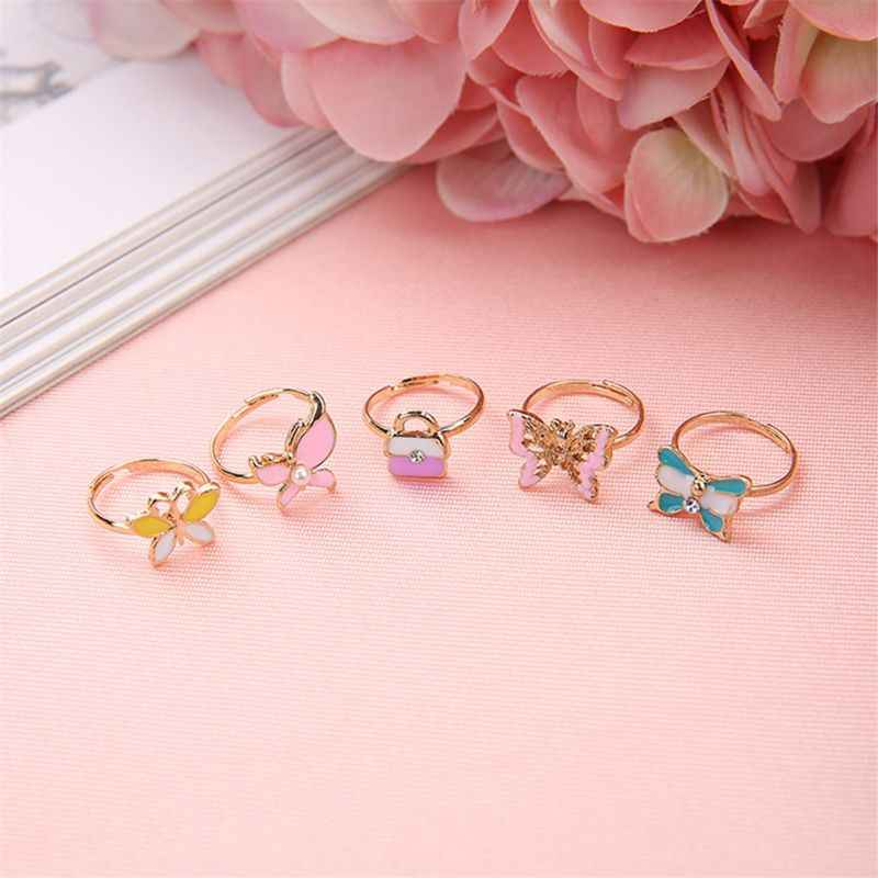 5x Cartoon Rings Butterfly Adjustable Party Favors Kids Girls Action Figures Toy