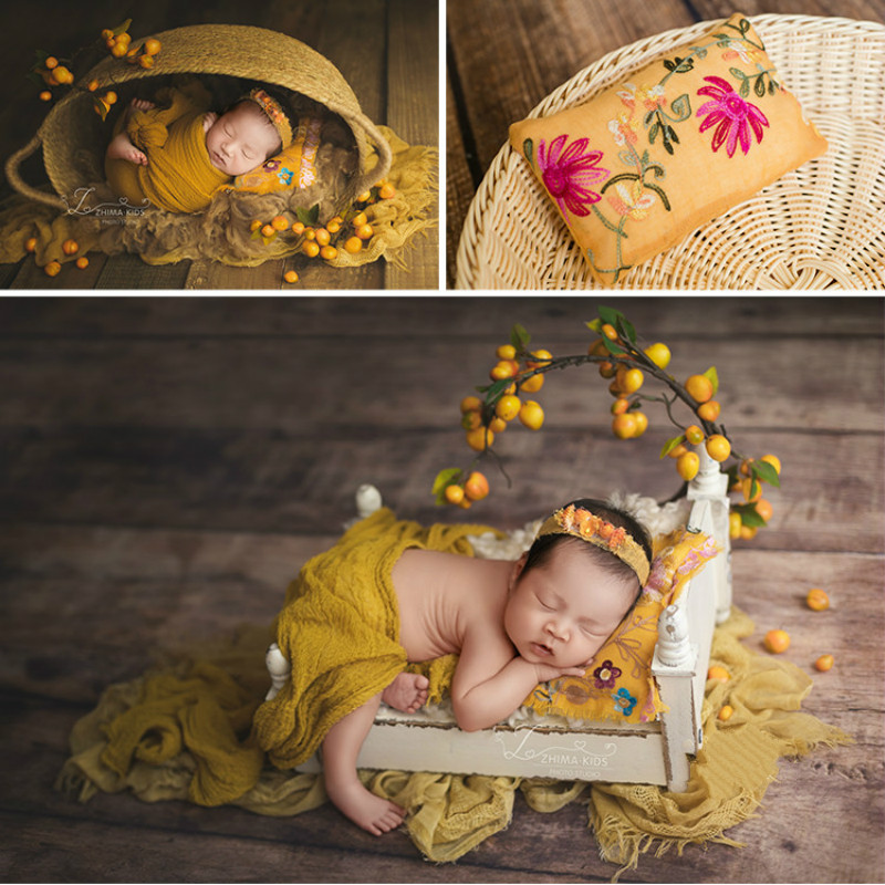 Newborn Photography Props Posing Pillows Embroidered Pillow Baby Shoot Accessories Studio Characteristic Props Many Multiple Use