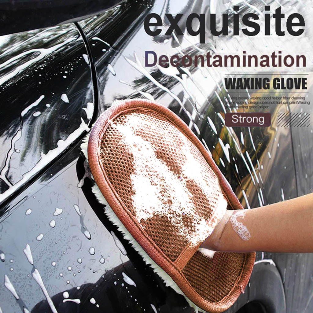 Washing-Brush Wool Car-Wash-Tool Cloth Care Cleaning-Mitt Cashmere Single-Sided Soft title=