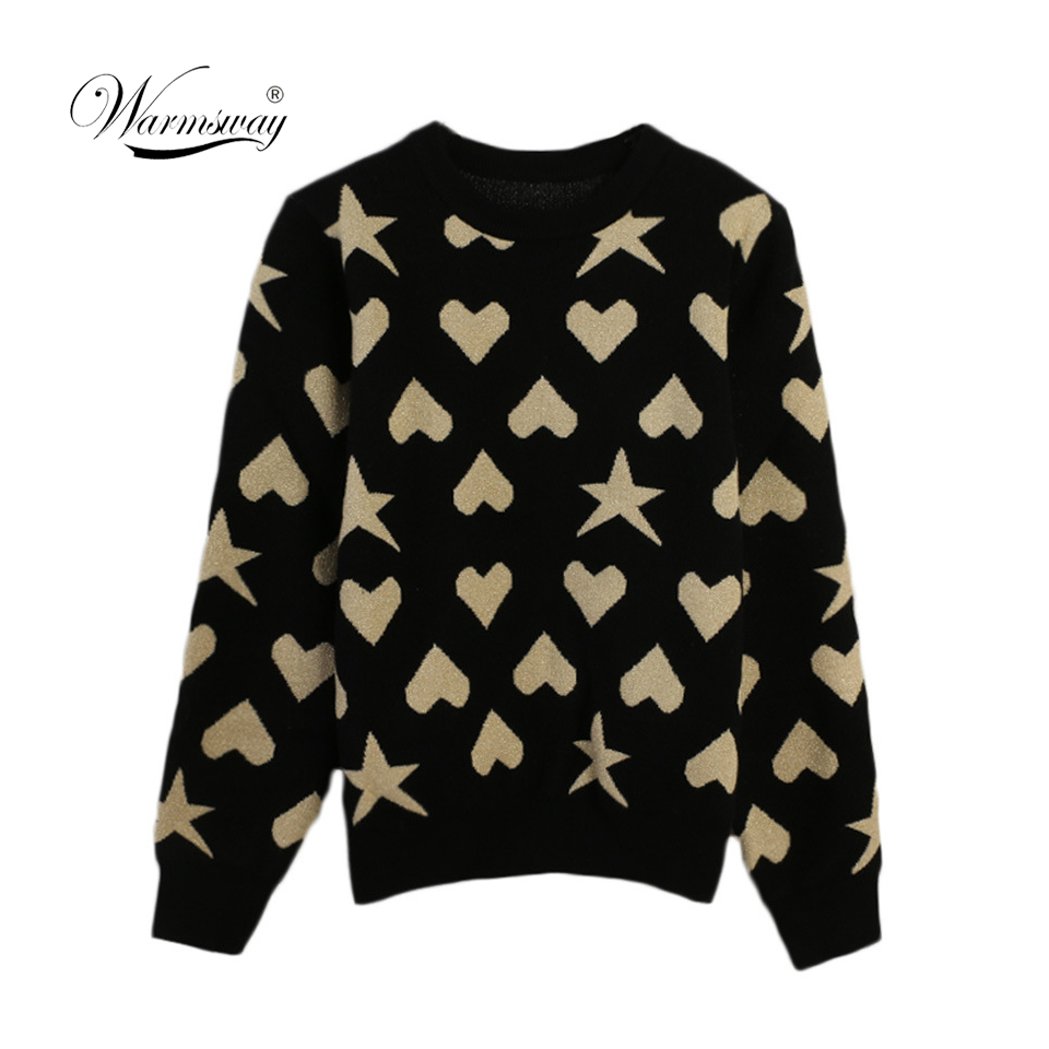 Women New vintage Heart Star Jacquard  warm sweater Contrast Color lurex pullover autumn knitted retro tops blusas C-473
