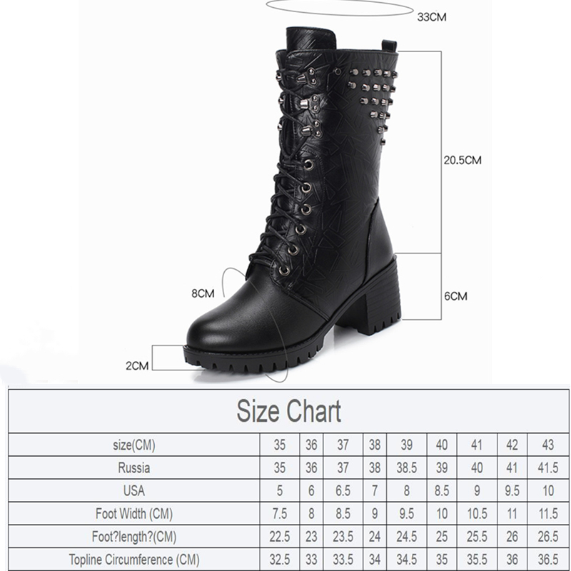 Genuine Leather Martn Boots Women Winter New Rivet Thick With Large Size 41 42 43 Wool In The Tube Motorcycle Boots