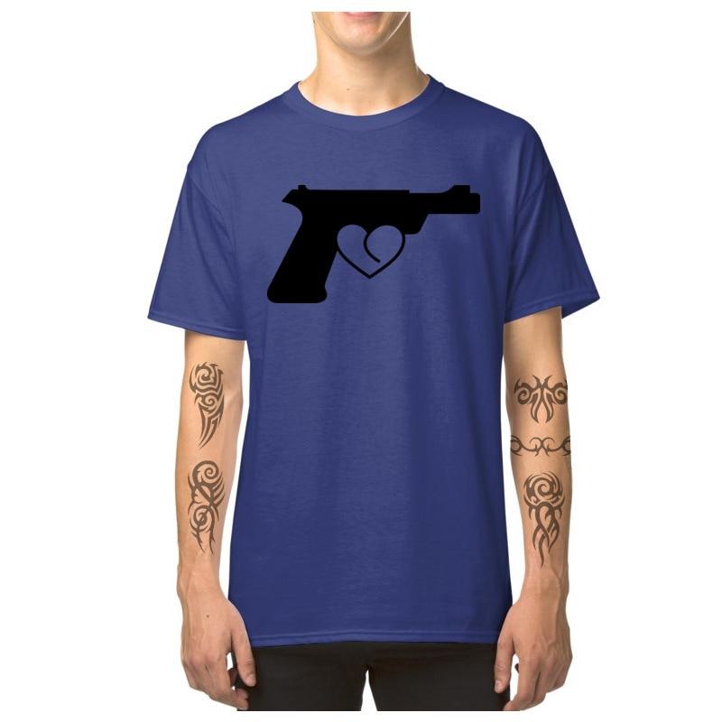 Love_Gun_7164 T Shirt 2018 Round Neck Simple Style Short Sleeve Pure Cotton Man Top T-shirts Custom T Shirt Top Quality Love_Gun_7164 blue