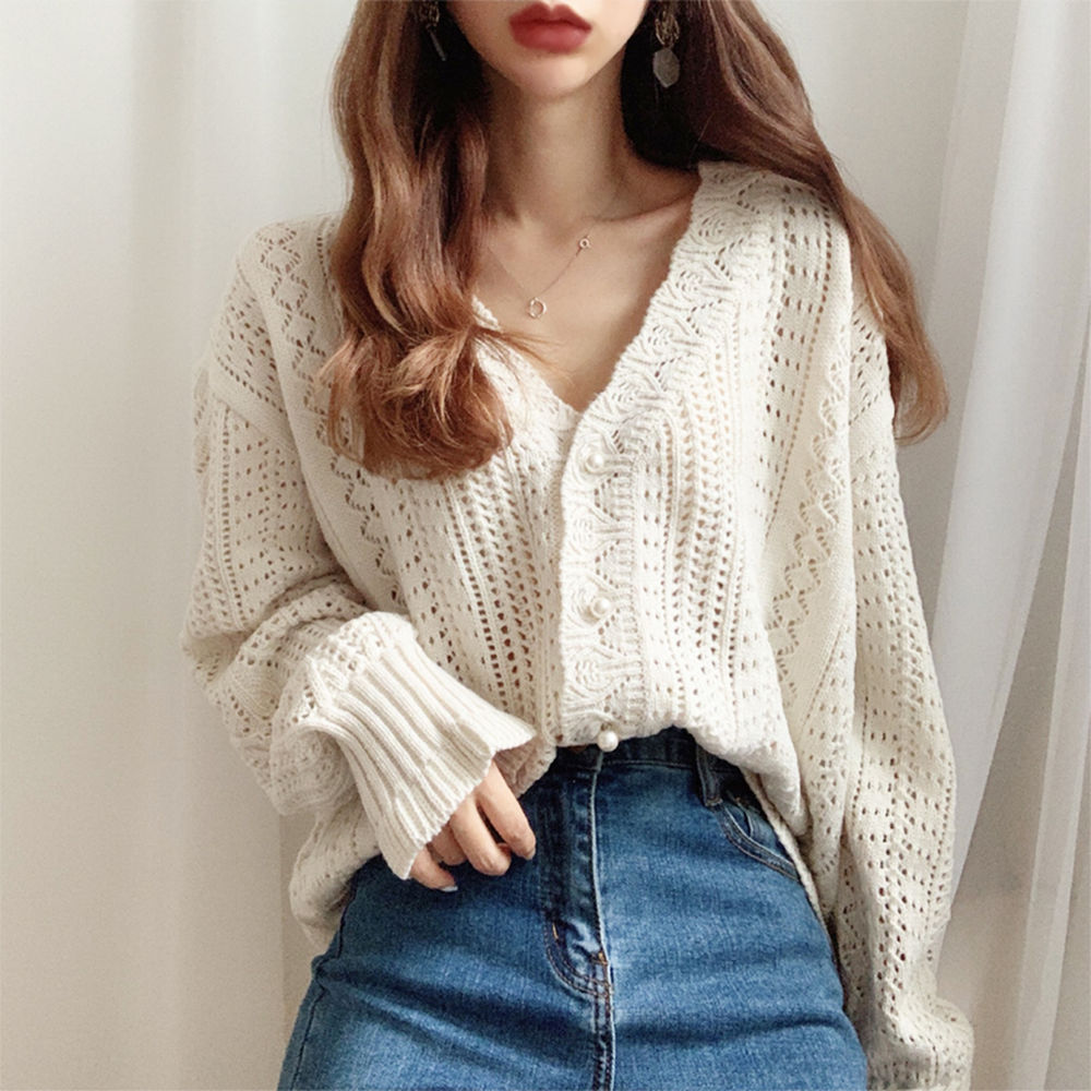 H.SA 2020 Women Spring Summer Sweater and Cardigans Low V-Neck Knit Tops Long Sleeve Hollow Out Sexy Cardigan Loose White Tops