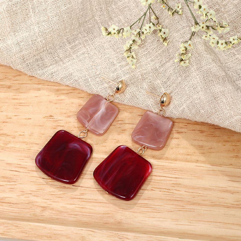 19 Fashion Earring for Women Big Square Acrylic Earrings multiple colour Long Drop Earrings boho jewelry Gift for Best friend 12