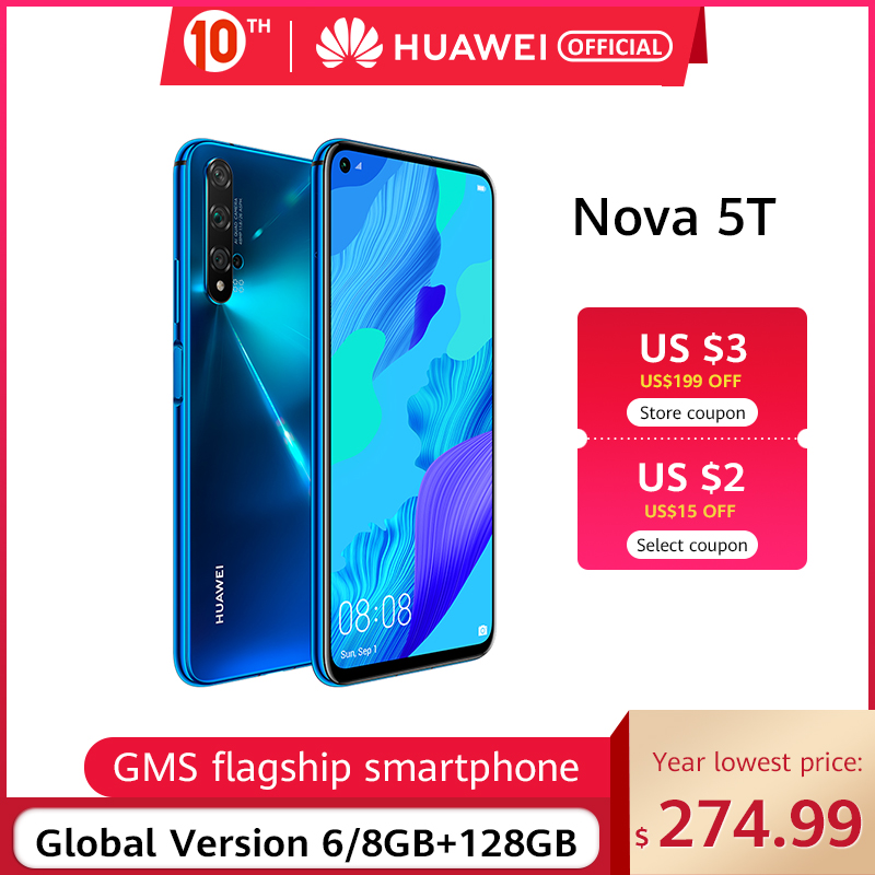 HUAWEI Hisilicon Kirin 980 Nova 5t Global Version 128gb 6gb GSM/WCDMA/LTE Nfc Supercharge title=