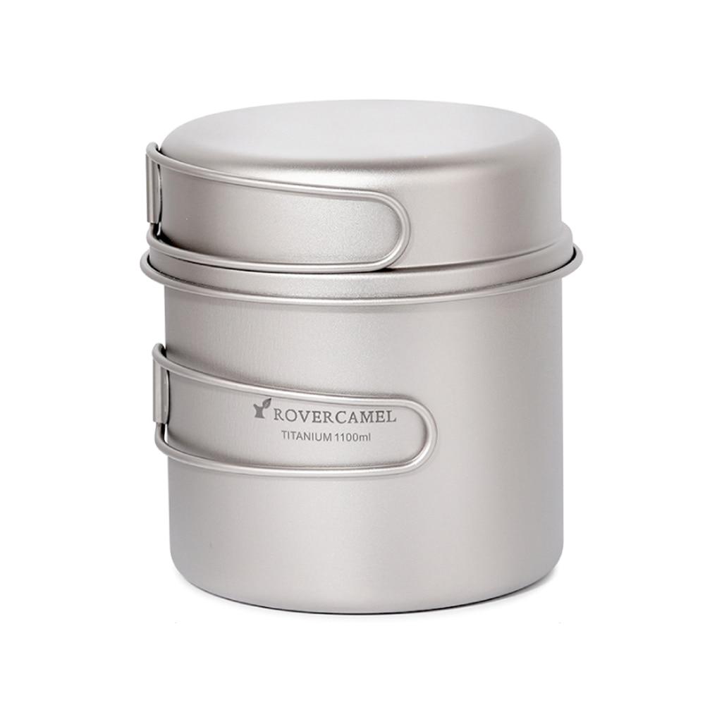 Boundless Voyage Camping Kit de Utensilios de Cocina Juego de ollas de Titanio con Mango Plegable Kit de Cocina para cocinar al Aire Libre Ollas Sartenes Sart/én Picnic Utensilios de Cocina