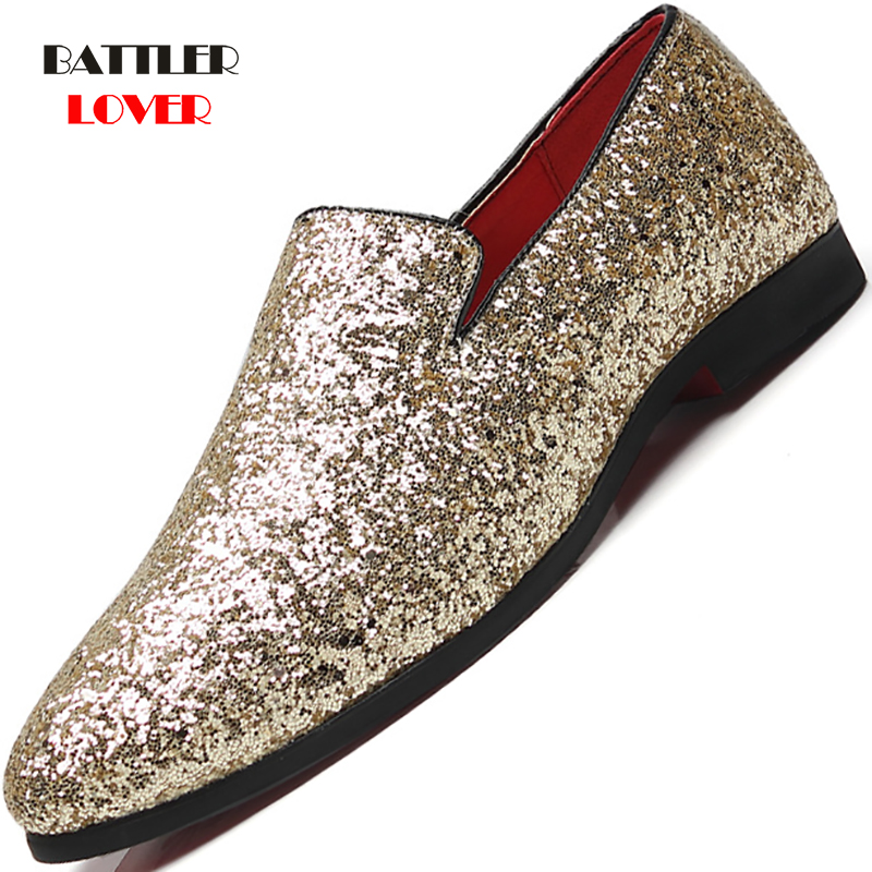2019 New Diamond Pointed Toe Shoes Gold Silver Flat Leather Shoes Men Paillette Fashion Mens Leather Doug Loafer Dress Shoes