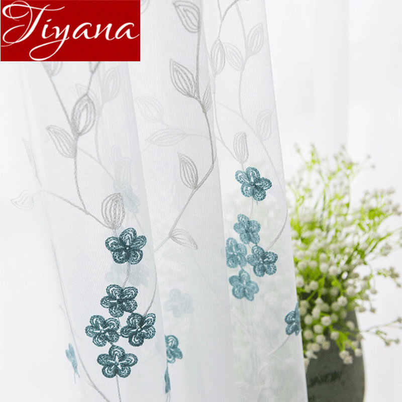 Blue Flowers Curtain Sheer Fabric Living Room Window Treatment Embroidery Voile Tulle Curtain Drape Customize Blinds M148#30
