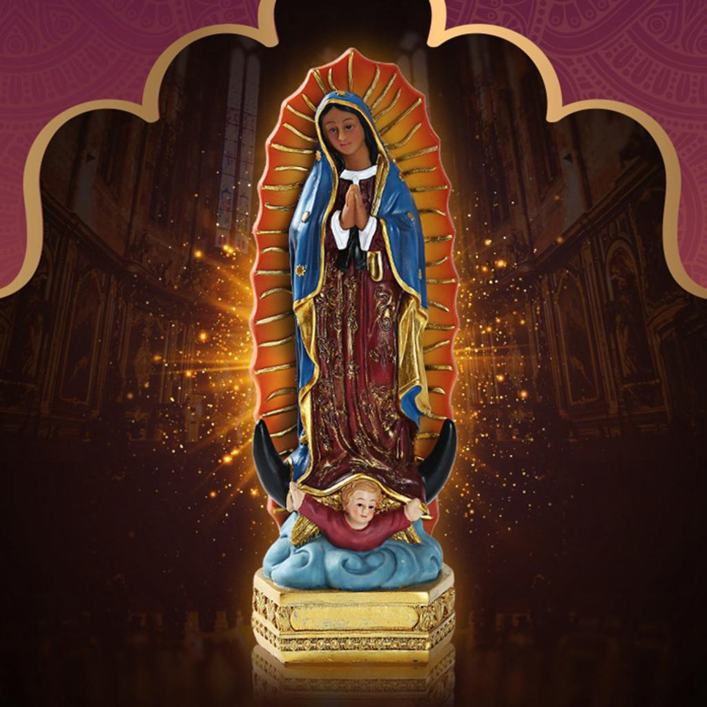 Beautiful Our Lady of Guadalupe Virgin Mary Statue Sculpture Figure Gift Xmas Display Decor