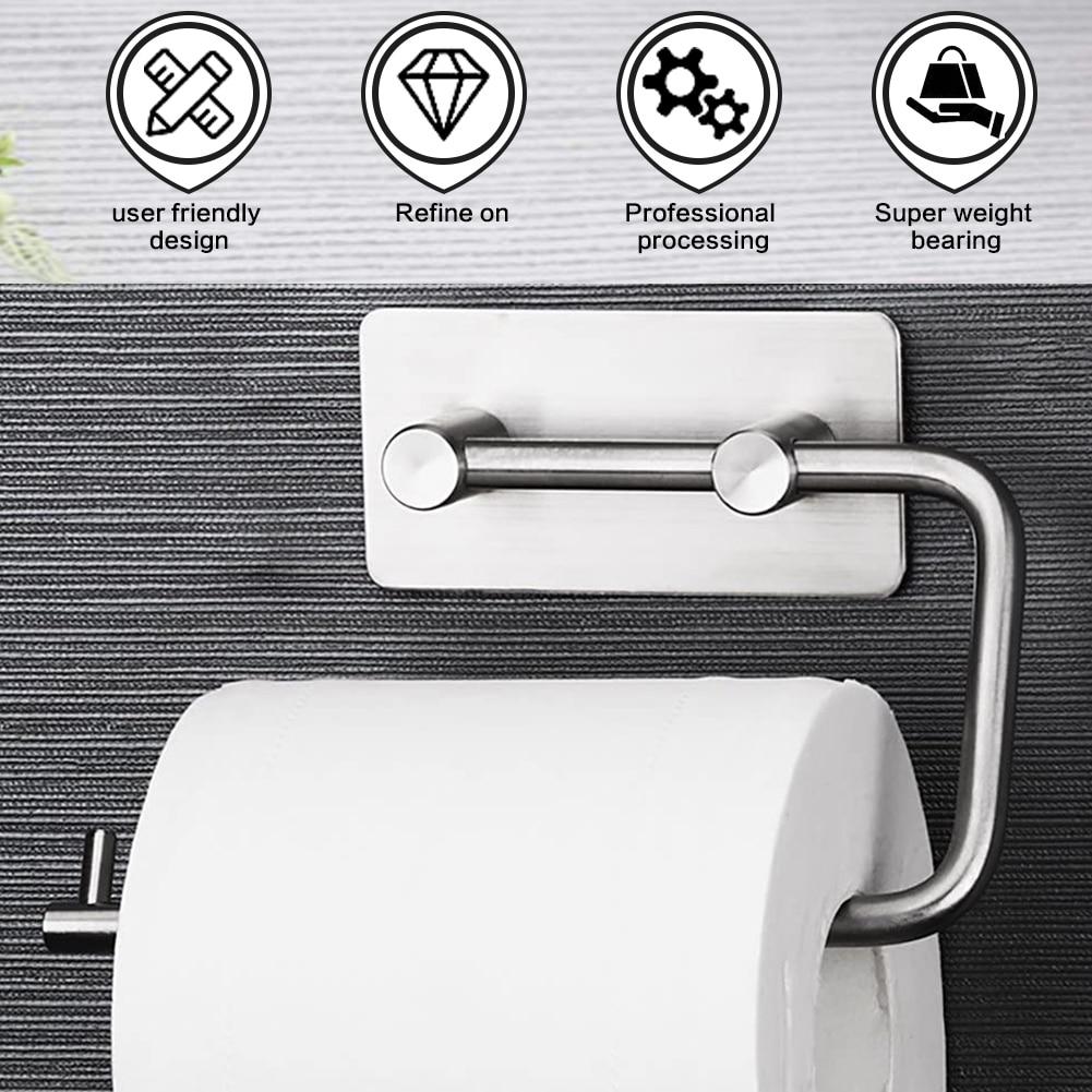 1x Steel Toilet Kitchen Roll Tissue Paper Holder Self Adhesive Bathroom HOT