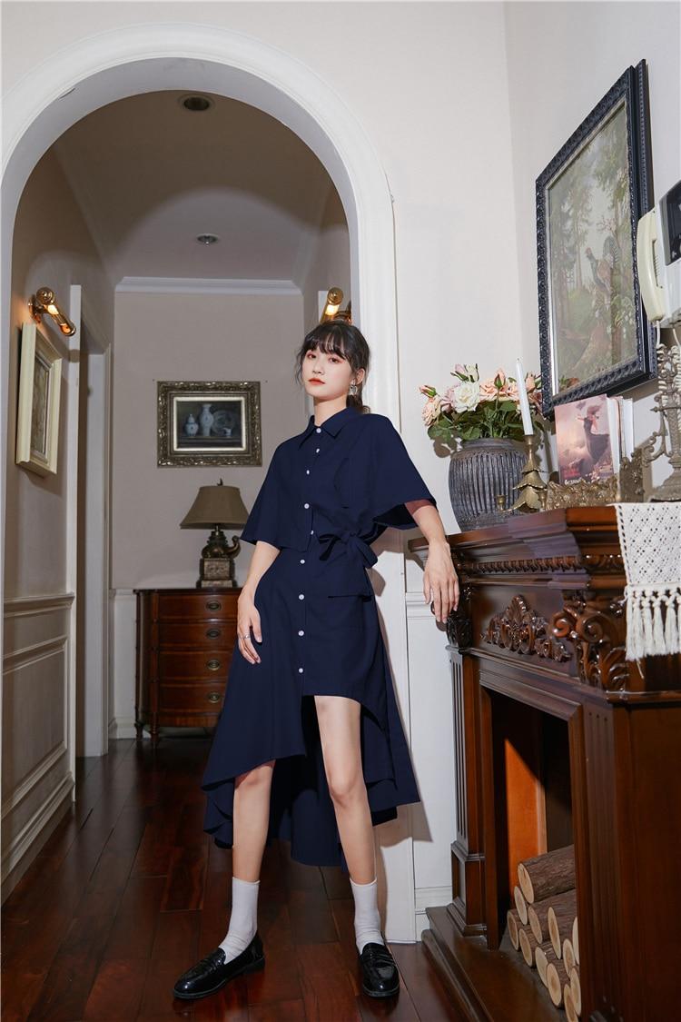 He595dffd88ed4f10bd79d58fd587383dd - Summer Korean Turn-Down Collar Short Sleeves Buttons Lace-Up Asymmetrical Long Shirt Dress