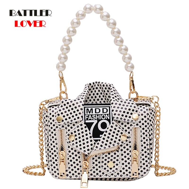 Designer Women Messenger Bags Dot Mini Jacket Bag Lady Shoulder Bag Pearl Handle Chain Crossbody Bags Sac A Main Femme De Marque