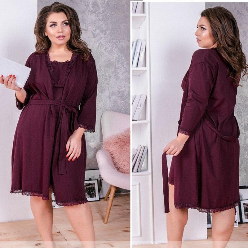 Autumn Winter Plus Size Robe Set Sexy Lace Patchwork Sleepwear Dress 2019 Two-Pieces Sashes Bath Nightdress