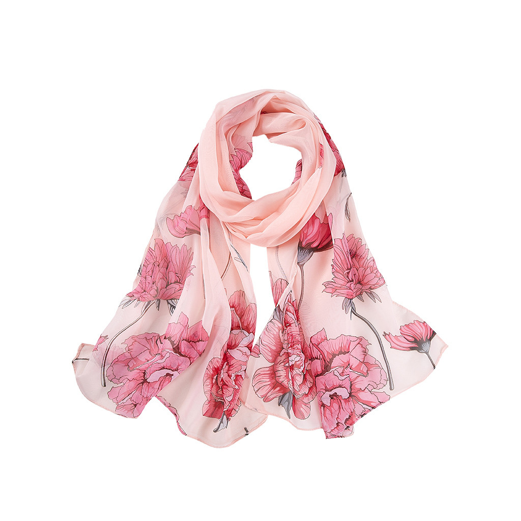 Women Print Scarf Spring And Autumn Thin Long Soft Wrap Ladies Elegant Floral Shawl Breathable Chiffon Scarves 919