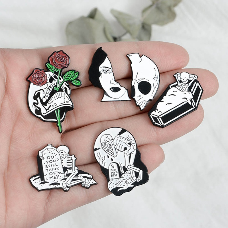 Split Face Pins Flower Face Lapel Pins Four Eyes Enamel Pin Halloween Lapel pins Weird Badges