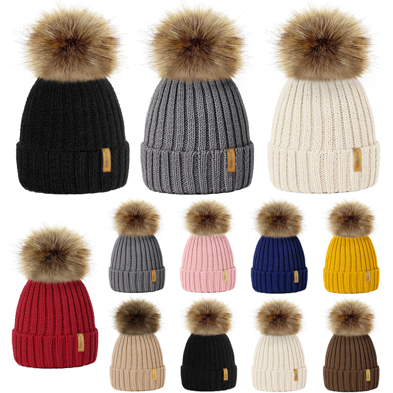 Beanie Hats Pompom-Caps Knitted Wool Girls Winter Boys Kids Women Skullies Faux-Fur Child title=