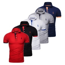 Polo Men Short-Sleeve Slim-Fit Patchwork Streetwear Solid Cotton 5pcs-Set