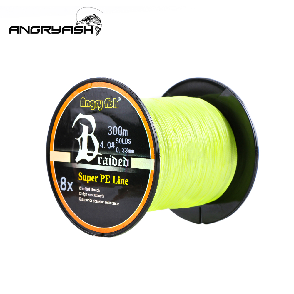 Angryfish 300 Meters 8 Strands Braided Fishing Line High endurance 8 Colors Super PE Line title=