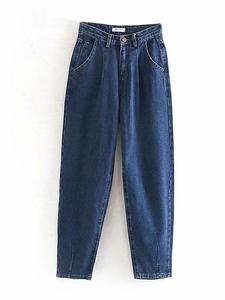 Mom Jeans Pants Trousers Pleated-Pocket Harem Boyfriends Streetwear Loose Femme Casual