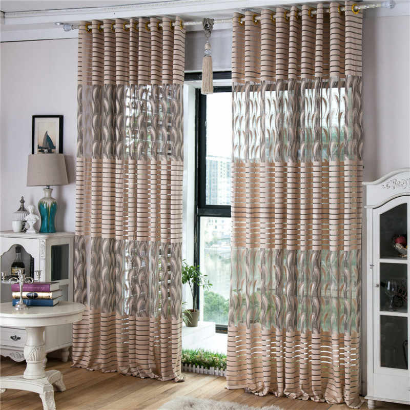 Jacquard Curtain for Kitchen Living Room Bedroom Tulle for Windows Customize Sheer Guaze Tulle Cortinas