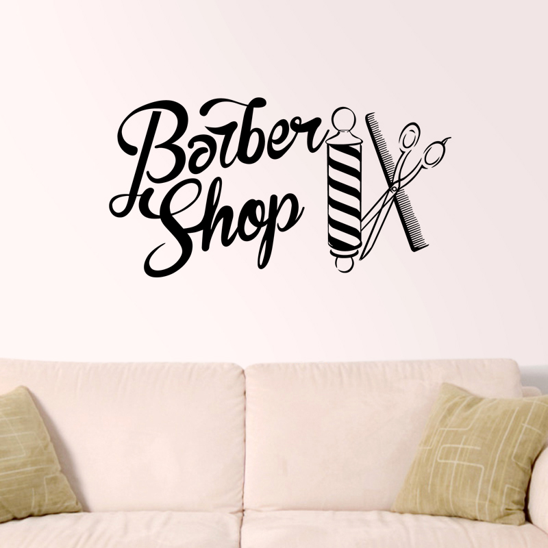 Barber Shop Sticker Chop Bread Decal Haircut Shavers Posters Vinyl Wall Art Decals Decor Windows Decoration Mural Ml003