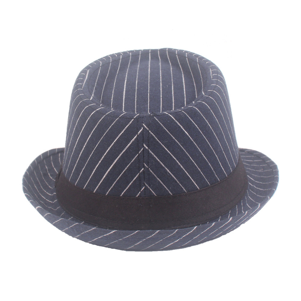 Summer Men Cotton Plaid Fedora Derby Bowler Hat Men Wide Brim Jazz Hat Gangster Panama Church Hat