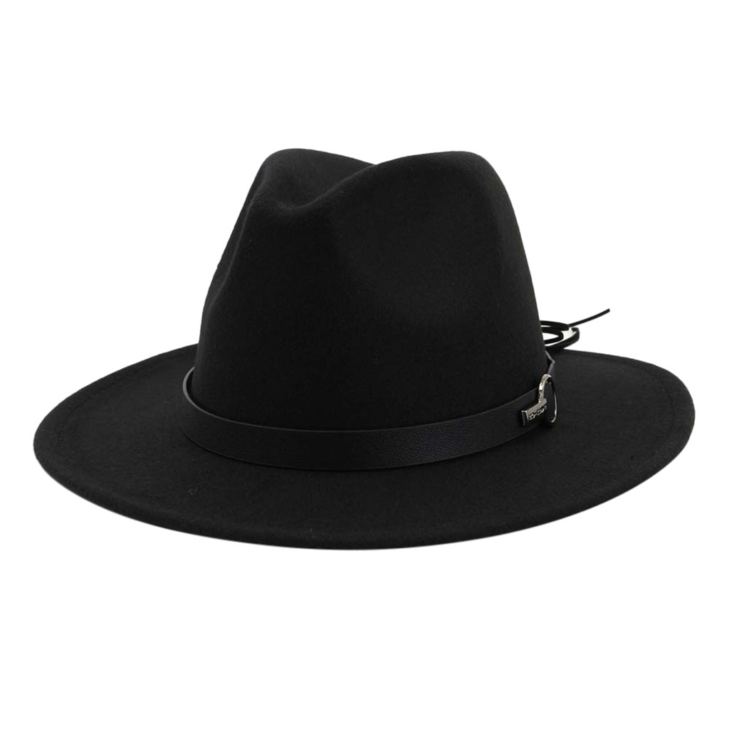 Hats Felt-Hat Outbacks-Hats Church Male Men's Fashion Fedora Adjustable Winter Wide Buckle title=