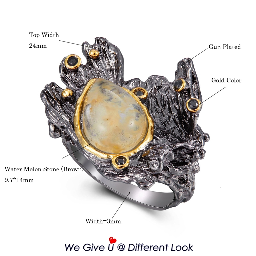 WA11787 DreamCarnival1989 Amazing Women Rings Rough Stone Wedding Engagement Ring Strong Character Water Melon Zircon Gun Color  (10)