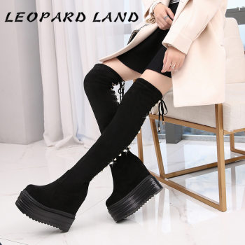 LEOPARD LAND Slope Knee Boots Female Autumn And Winter Slender And Long Cylinder Plush Thick Bottom High Cotton Boots Women