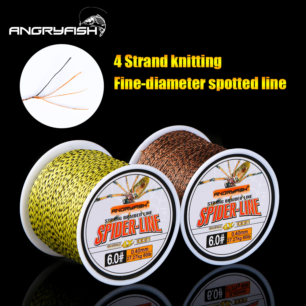 Angryfish 4 Strands 100m PE Braided Fishing Line Camouflag Yellow Brown and Green Strong endurance 10-60LB title=