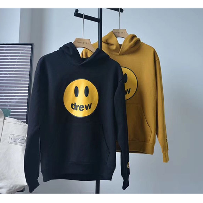 19ss Justin Bieber hoodies Men Women High Quality Smiley Face Autumn Winter Cotton Loose Casual Drew House Sweatshirts Pullover