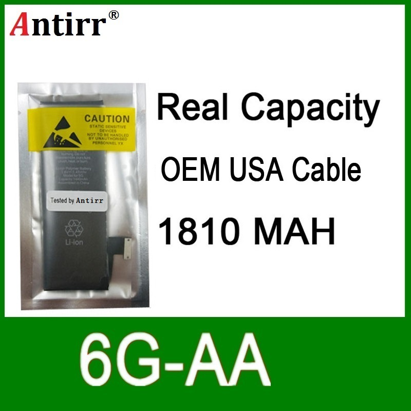 10pcs/lot Real Capacity China Protection board 1810mAh 3.7V Battery for iPhone 6G zero cycle replacement repair parts 6G-AA