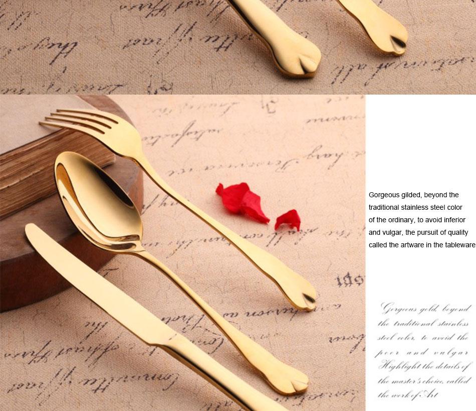 Luxury Gold Cutlery Set Stainless Steel Metal Dinnerware Set 3 Pieces Knife Fork Tableware Dining Dinner Western Food Kitchen (9)