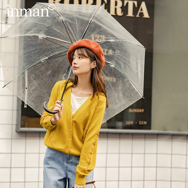INMAN 2020 Autumn New Arrival V Neck Interesting Contrast Color Embroidered Women Cardigan Knitwear