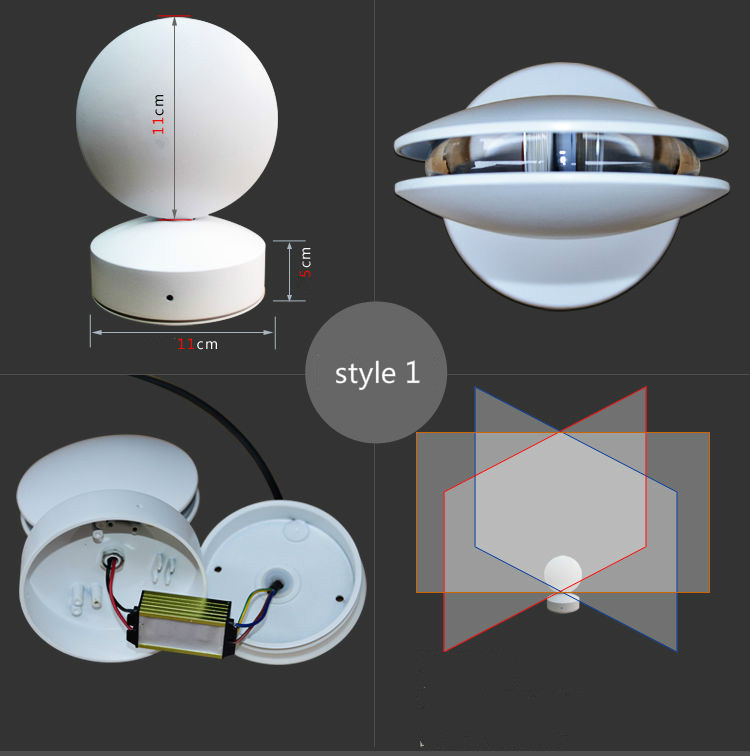 LED Indoor Waterproof Wall Lamp with 360 Degree Lighting