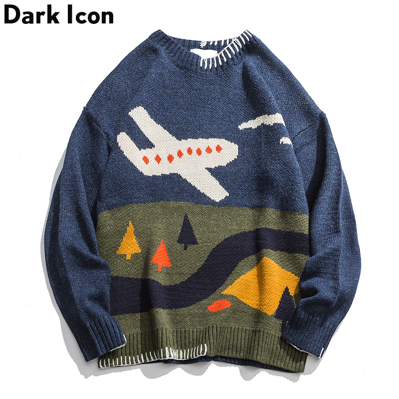 Dark Icon Round Neck Pullover Men's Winter Sweater Printed Oversized Hip Hop Sweaters Men's Wool Blouses Sweater Blue/Green