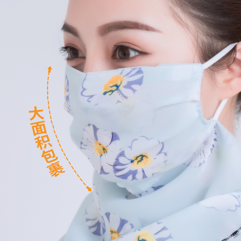 New 2020 Face Mask Scarf Women Sun Protection Mouth Mask Neck Silk Scarves Outdoor Riding Chiffon Face Cover Shawl Handkerchief