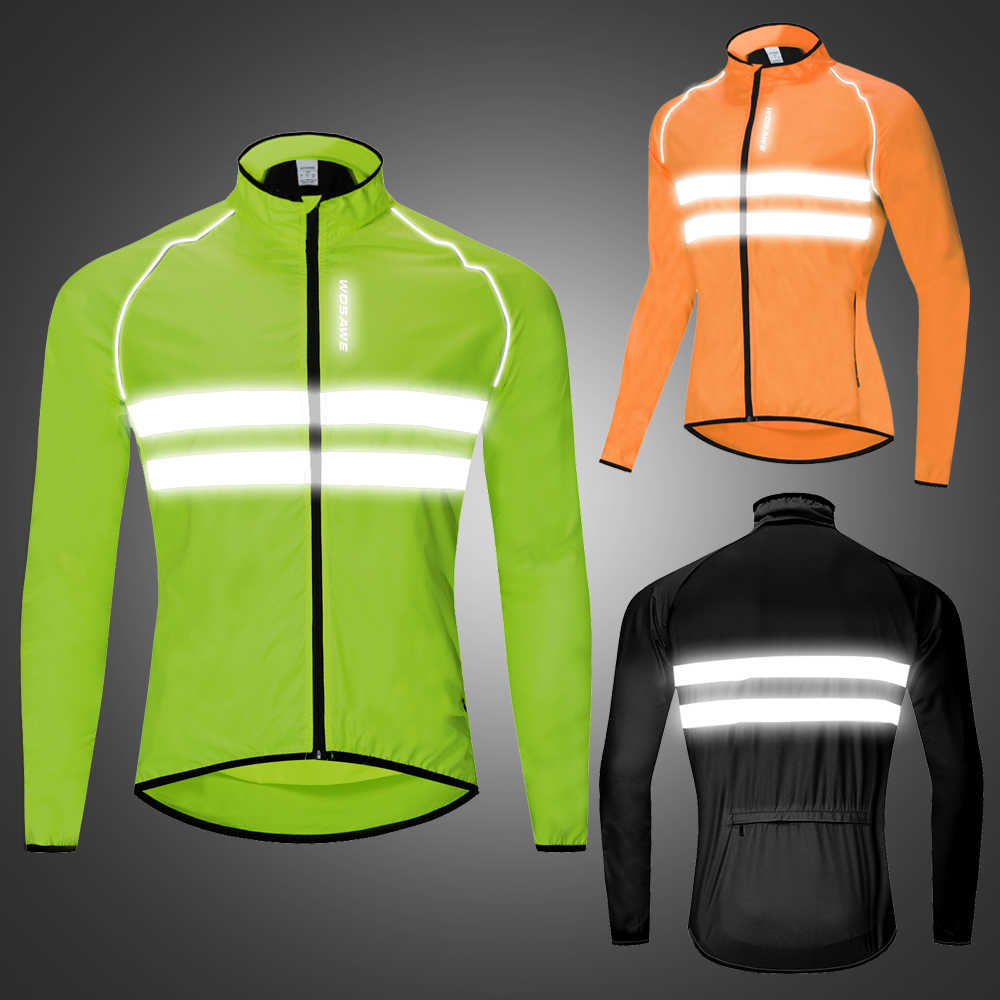 Water wind proof breathable reflective cycling jacket high visibality